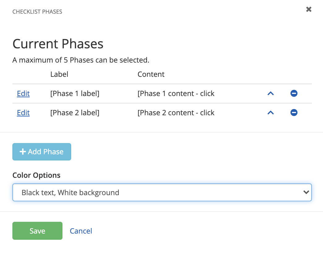 Checklist phases editor