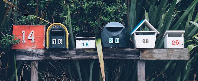 colorful outdoor mailboxes