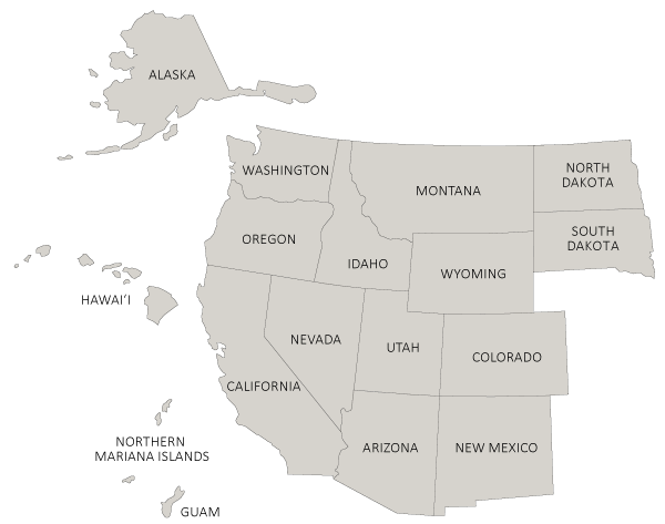 Map of Western US states
