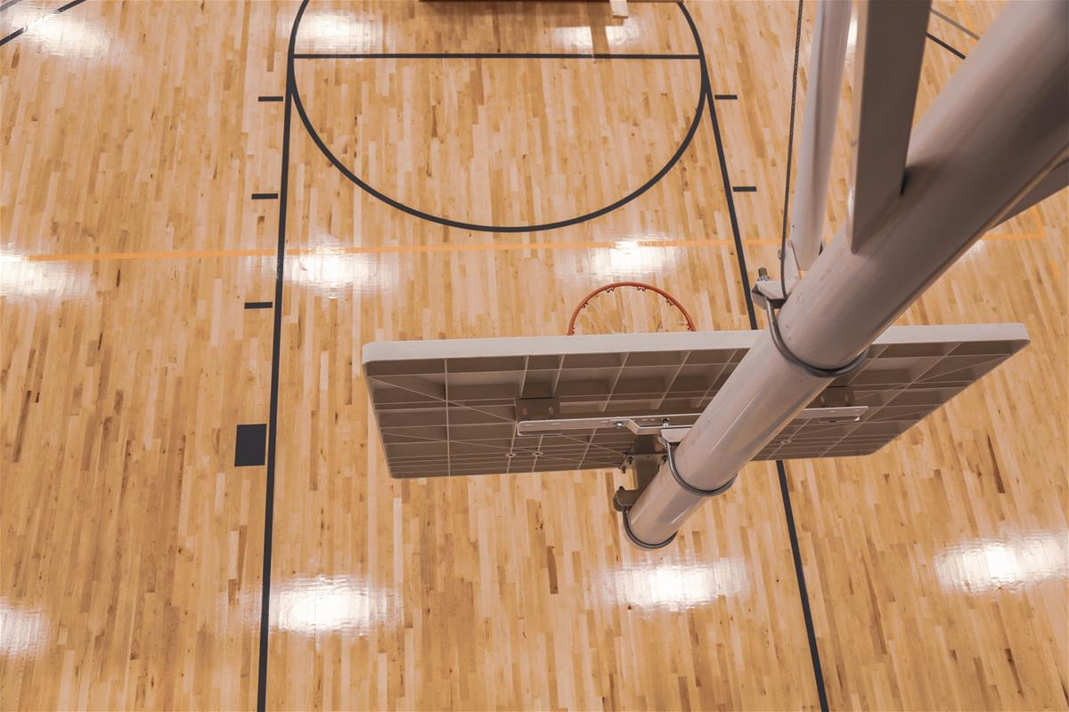 Birds eye view of basketball court