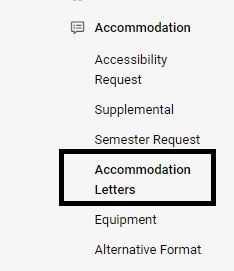 Accommodation menu with a black box around the Accommodation Letters link