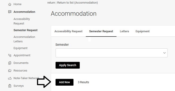 Semester Request page with a black arrow pointing to the Add New button.