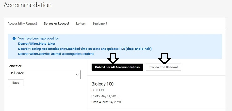 Semester request page with list of accommodations and arrows pointing to the Submit for all accommodations button and Review the renewal button.