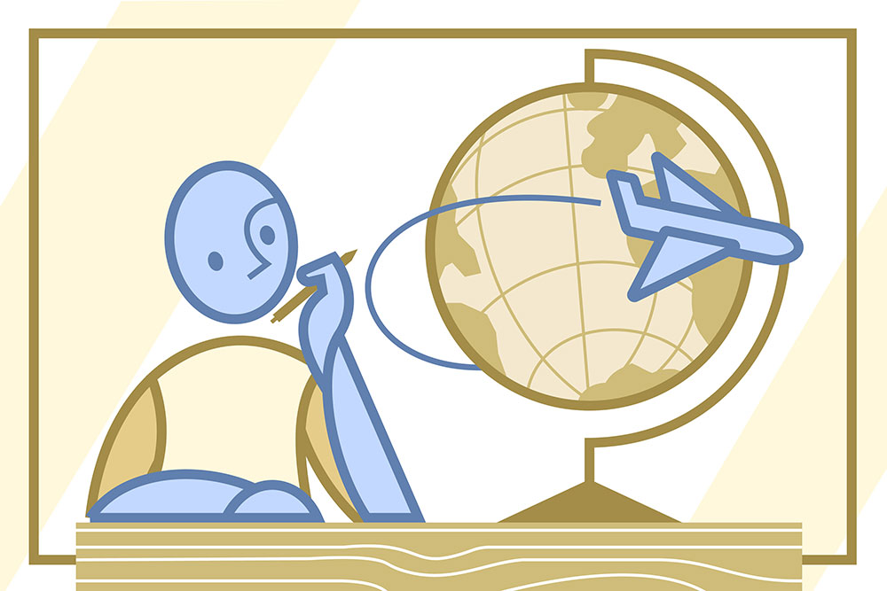A person looking at a globe