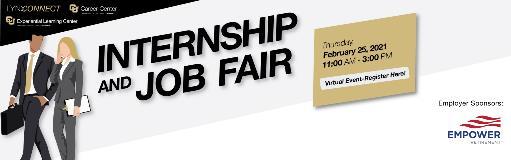 Internship and job fair banner