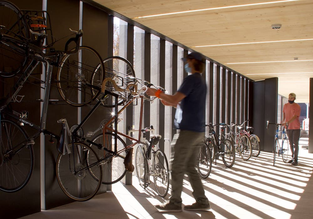 Architecture students construct bike shelters on campus