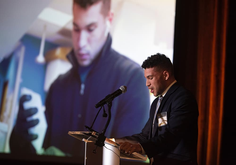 Student Matt Mitchell speaks at the 2019 Celebration of CU in the City