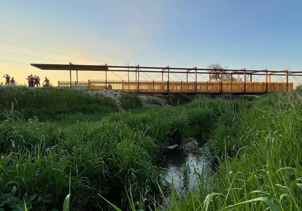 The finished bridge designed and built by CU Denver students