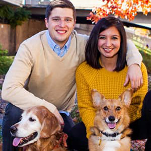 Jack Kroll with Wife Vanessa and Dogs