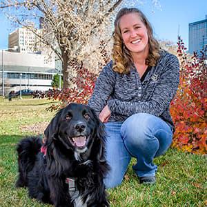Kristen Schilz with service dog