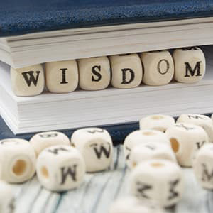 """Beads with letters on them spelling our """"wisdom"""""""
