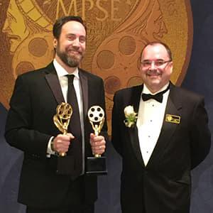 Tim Kimmel and CAM professor David Bondelevitch at the 2016 MPSE Golden Reel Awards. Image courtesy of David Bondelevitch.