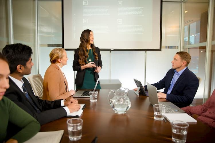 A group of business people during a meeting