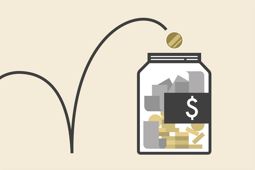 Illustration of a coin bouncing into a mason jar full of coins and dollars