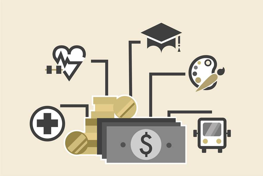 A variety of illustration inclusing a dollar bill, a heart monitor, cap and gown and money
