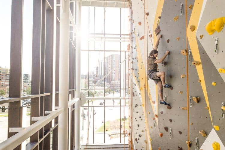 Wellness center rock wall