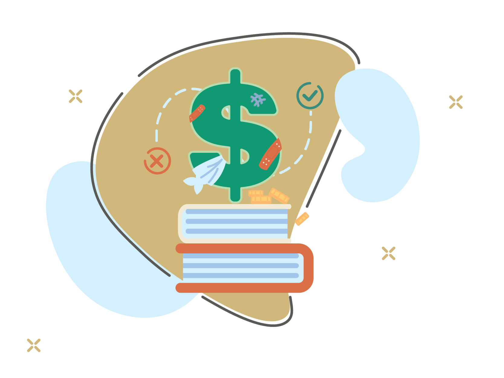 Illustration of a dollar sign standing on top of books