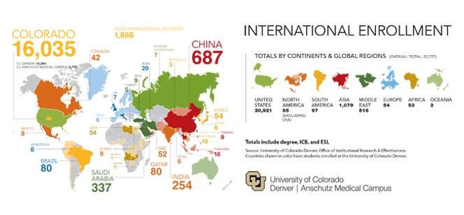 map showing international enrollment