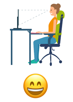 A worker sites with a straight back and upright neck position