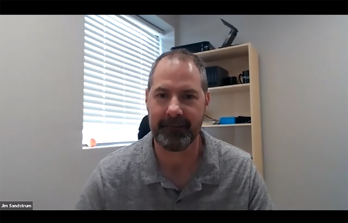 Jim Sandstrum conducts a Show and Tell via a Zoom virtual meeting