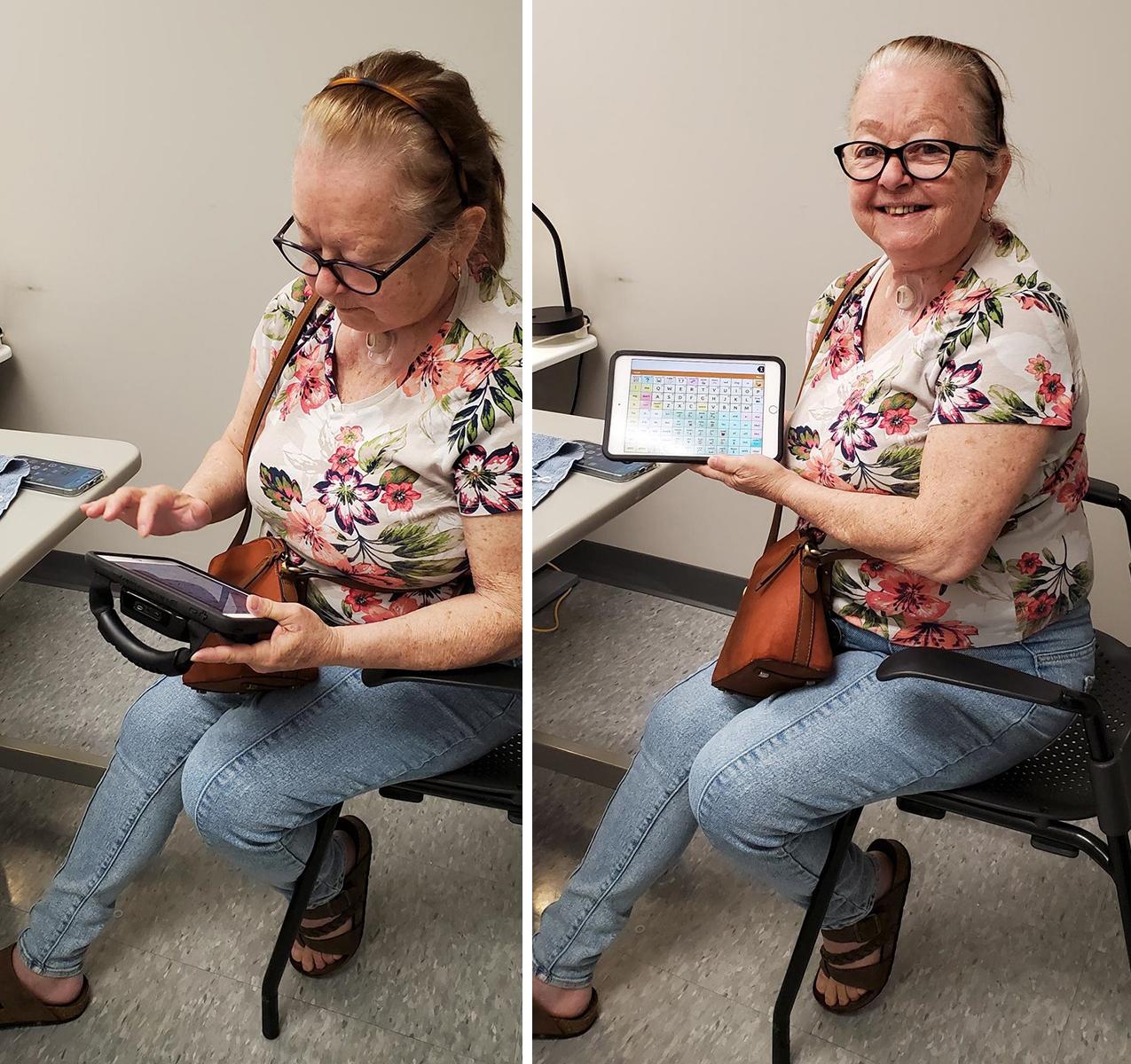 Eliane using her communication device